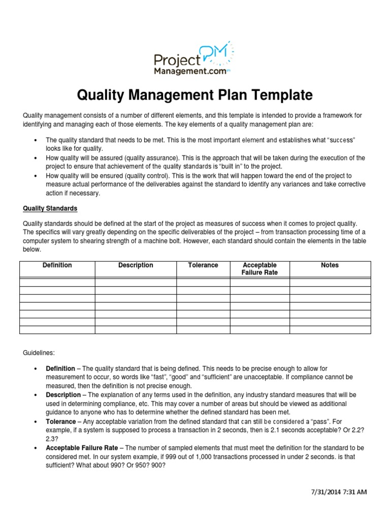 Quality Management Plan Template Quality Assurance Quality