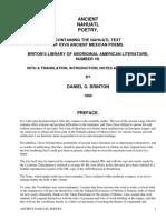 Ancient Nahuatl PoetryBrinton's Library of Aboriginal American Literature Number VII. by Brinton, Daniel Garrison, 1837-1899