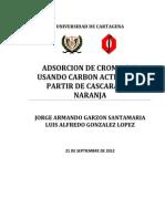 Adsorcion de Cromo (Vi) a Partir de Carbon Activado Obtenido de La Cascara de Naranja