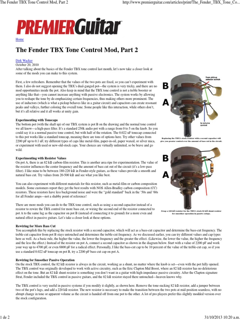 Fender Tbx Tone Control Diagram Electrical Wiring Telecaster The Mod Part 2 Resistor Capacitor On