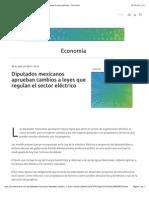 30-07-14 Diputados mexicanos aprueban cambios a leyes que regulan el sector eléctrico