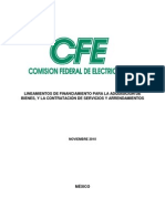 Lineamientos de Financiamiento 2010 Cfe