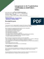 (Asset Manager Variante) Chargé Du Management Et de l'Exploitation