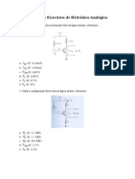 Lista de Exercícios de Eletrônica Analógica