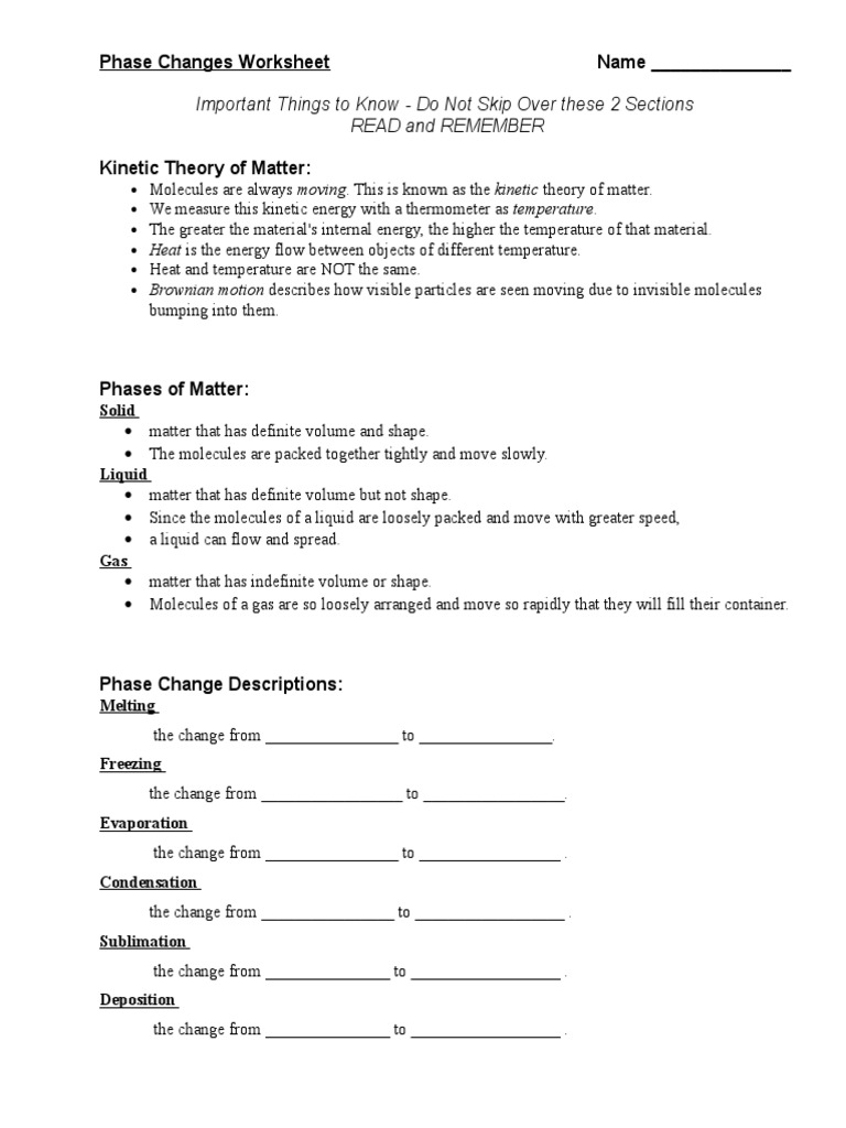 Phase Changes Worksheet | Latent Heat | Phase (Matter)