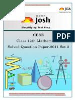 CBSE CBSE Class 12th Mathematics Solved Question Paper 2011 Set II