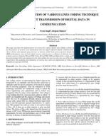 Fpga Implementation of Various Lines Coding Technique for Efficient Transmission of Digital Data in Communication
