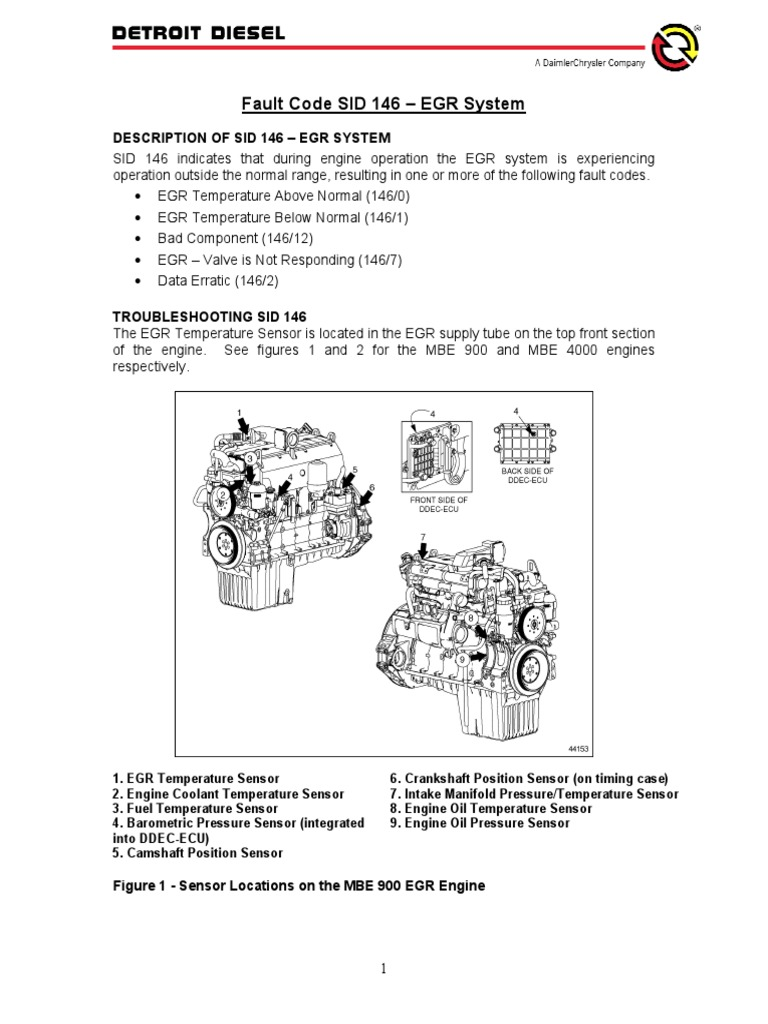 mbe900 fault code 146