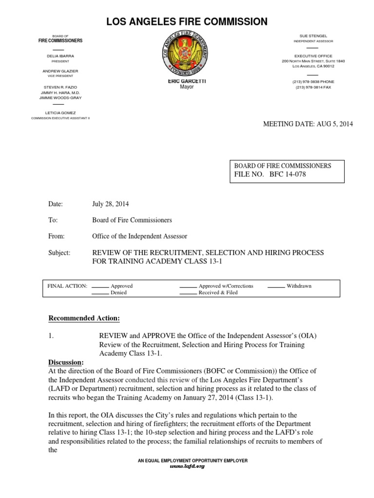 Review Of The Recruitment Selection And Hiring Process For Lafd