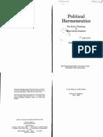 Robert R. Sullivan Political Hermeneutics the Early Thinking of Hans-Georg Gadamer 1989