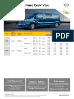 Opel Vivaro Crew Van- Cenník Júl 2014