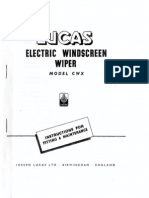 819 - Lucas Instruction Booklet - Electric Windscreen Wiper Model CWX