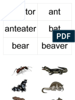 Animal Word Flash Cards With Pictures