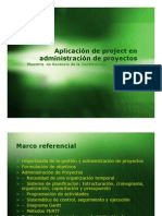 Aplicación de proyect en administración de proyectos