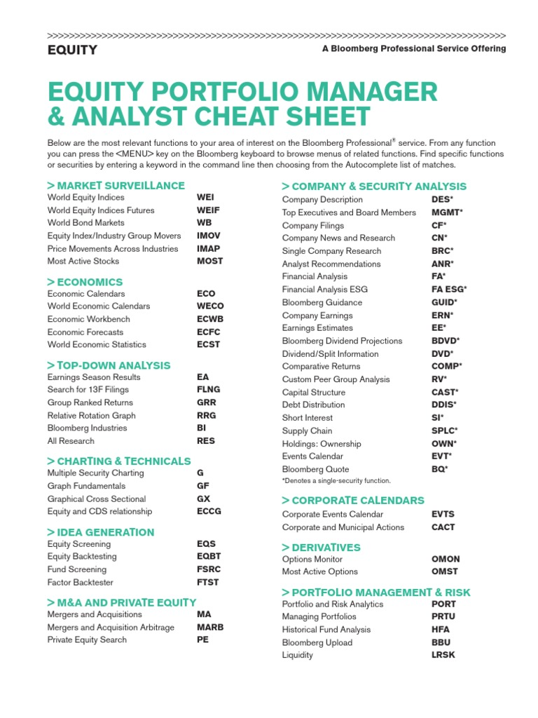 Eqpm And Analyst Cheat Sheet Bloomberg L P Equity Finance