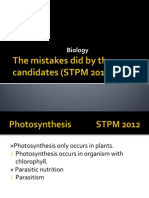 Biology-The Mistakes Did by the Candidates