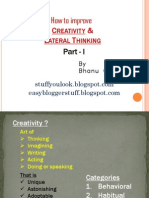 How to improve Creativity and Lateral Thinking Part - 1