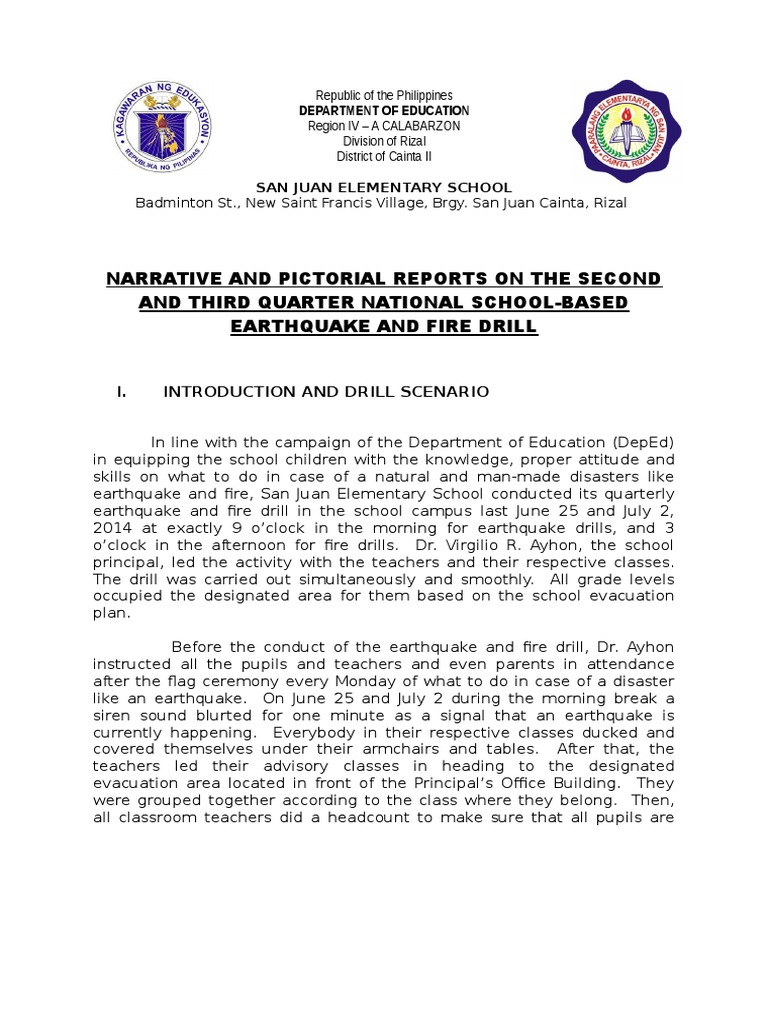 Narrative Report on Earthquake and Fire Drill | Disaster And ...