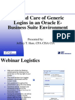 Ch 7 Use and Care of Generic Logins in an Oracle E-Business Suite Environment