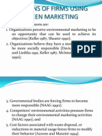 Reasons of Firms Using Green Marketing