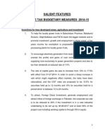 Salient Features of Income Tax 2014-2015