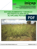 Establecimiento y Manejo de Pasto Klein en El Altiplano