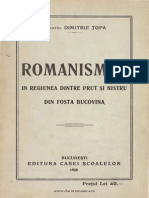 Dimitrie Topa - Romanismul in Regiunea Dintre Prut Si Nistru Din Fosta Bucovina.1928