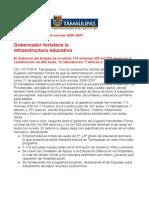 com0838 190806 Gobernador Eugenio Hernández Flores fortalece la  infraestructura educativa
