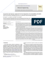 Integration of Sustainability Principles Mineral Processing