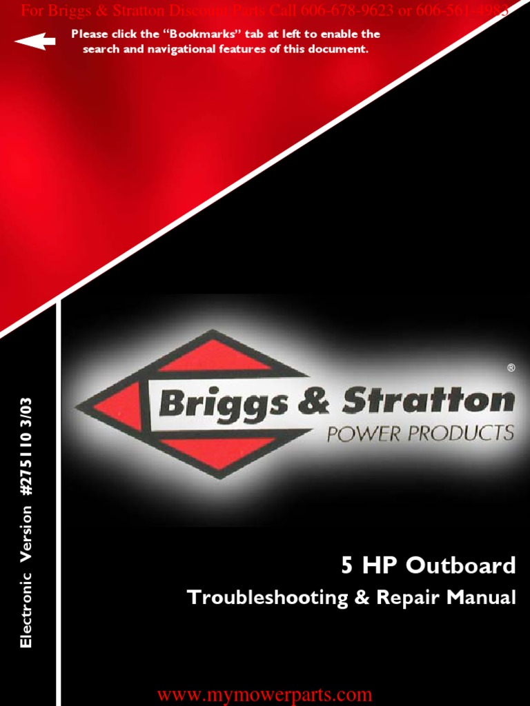 Famous briggs and stratton 5hp horizontal shaft engine manual outboard repair manual e book275110 briggs stratton fandeluxe Images