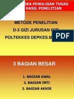 Sistematika Penulisan Laporan D-3 Gizi