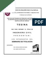 Uso de Software de Precios Unitarios en La Elaboracion de Paquetes de Concurso e Inspeccion de Obras