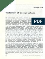 Taft - Testament of George Lukacs