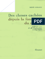 René Girard, Des Choses Cachées Depuis La Fondation Du Monde