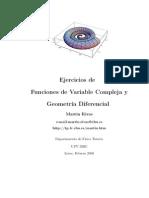 Ejercicios de Variable Compleja y Geometría Diferencial