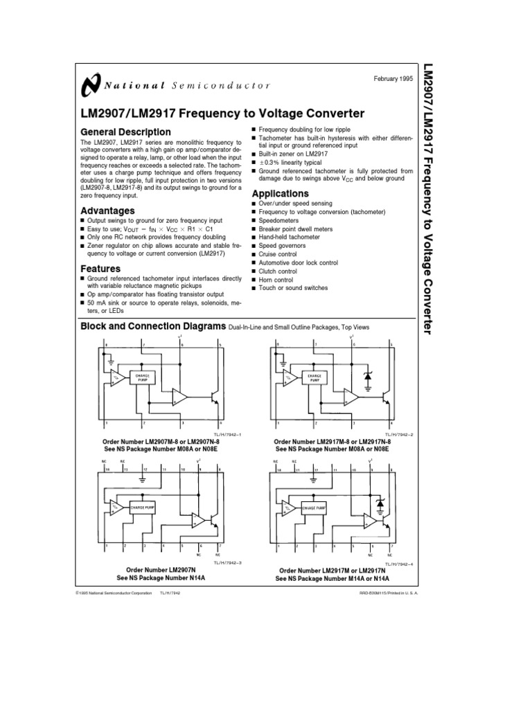 Lm2907 Amplifier Operational Frequency Counter Tachometer Schematic