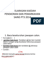 Penyelarasan Kaedah Penskoran Dan Pemarkahan Sains Pt3 2014