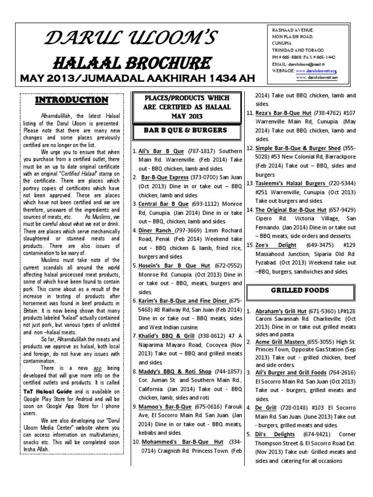 Halaal Brochure - Trinidad PDF 25-4-13 | Yogurt | Lunch