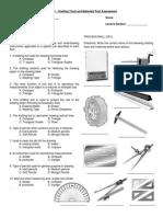 Drafting Tools and Materials Quiz