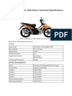 2010 Honda Wave 125X Ultimo Technical Specifications