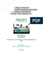A Study on Consumer Behavior Regarding Investment on Financial Instruments at Karvy Stock Broking Ltd