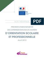 FEJ Note Premiers Resultats Orientation Aout 2013