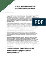 Importancia de La Administración Del Mantenimiento de Los Equipos en La Industria.