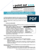 SESSIONS PARLEMENTAIRES AVRIL  –  JUILLET 2014