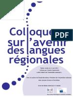 Actes du Colloque Langues régionales à l'Assemblée nationale