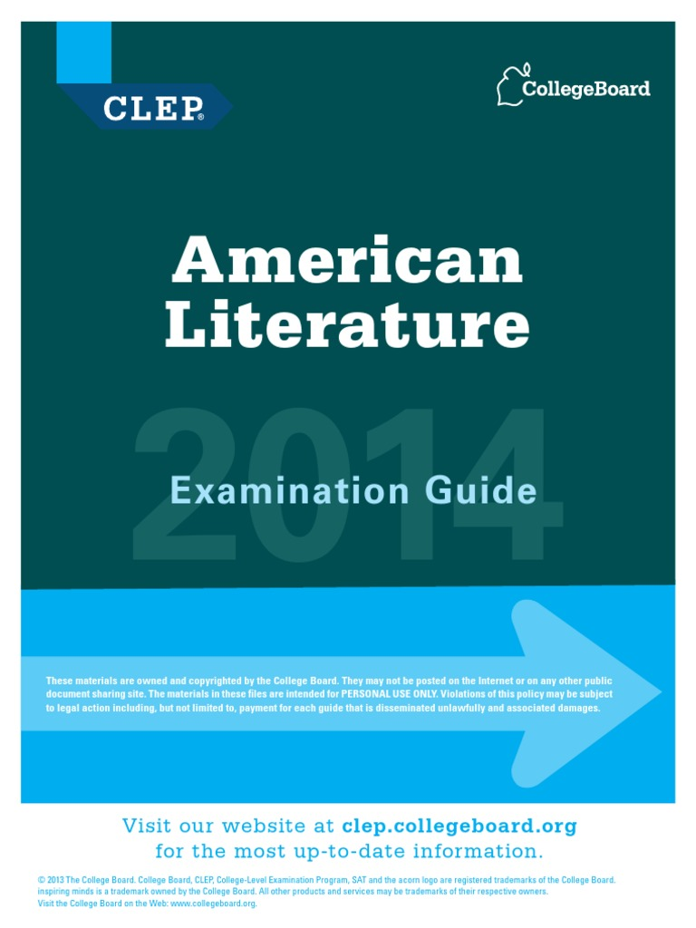 Clep American Literature Study Guide | College Level Examination Program |  Test (Assessment)