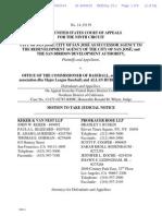 Motion to take Judicial Notice, City of San Jose vs. Major League Baseball