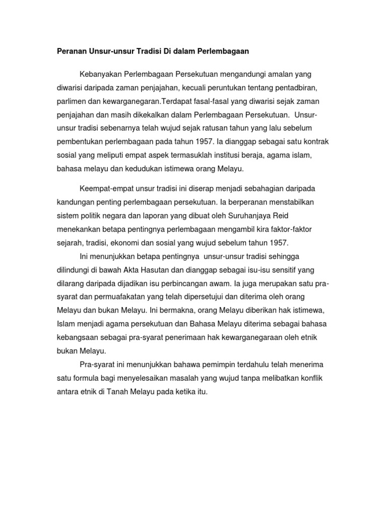 Peranan Unsur Unsur Tradisi Perlembagaan Malaysia