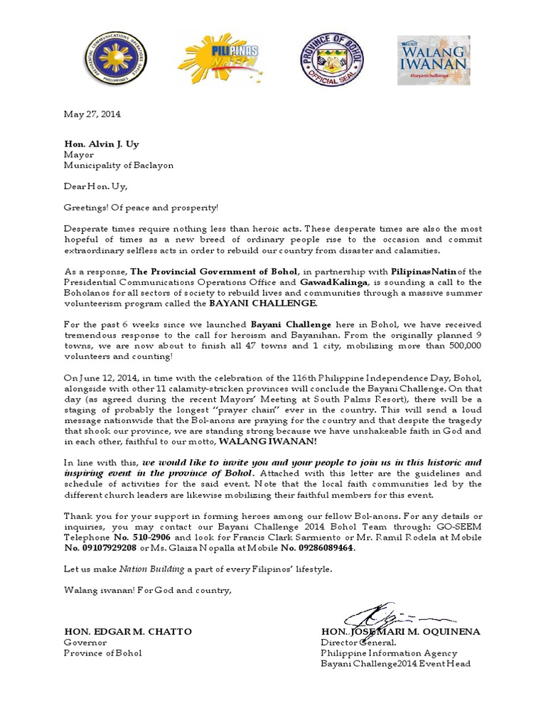 Letter for culmination for an activity philippines volunteering stopboris Image collections