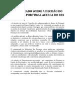Comunicado do Governo sobre a aplicação de Medida de Resolução ao Banco Espírito Santo